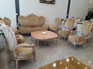 ست کامل و قیمت مناسب مبلمان کلاسیک مدل زهره با کلاف چوب روس و پارچه بسیار مرغوب