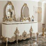 آینه کنسول چوبی با قیمت تولیدی، میز کنسول کوچک، مدل آینه کنسول چوبی