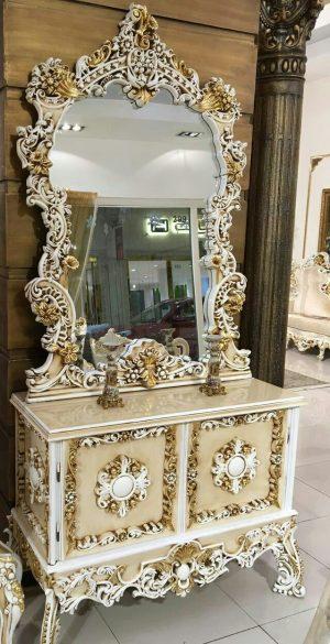 آینه کنسول چوبی سفید رنگ کد 033
