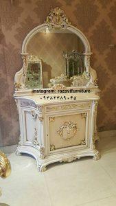 فروش اینترنتی آینه کنسول دیواری چوبی با قیمت تولیدی رضوی مخصوص جهیزیه