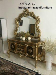 شیک ترین آینه کنسول مدرن چوبی با قیمت