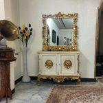 آینه کنسول چوبی سفید کد ۰۲۹ با قیمت تولیدی