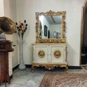 خرید اینترنتی آینه کنسول سفید چوبی به قیمت تولیدی