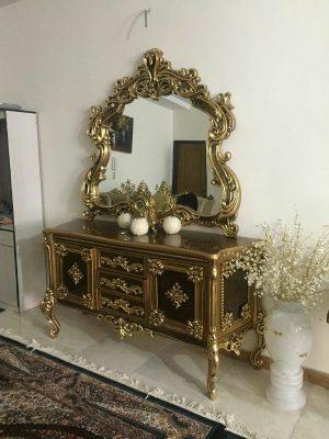 آینه کنسول چوبی سلطنتی با قیمت تولیدی