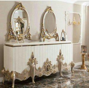 قیمت تولیدی رضوی آینه کنسول چوبی کد 02