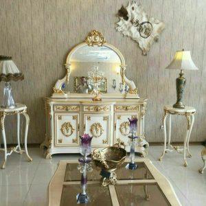 آینه کنسول چوبی سفید رنگ با قیمت تولیدی