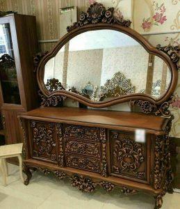 آینه کنسول سلطنتی چوبی به قیمت تولیدی مبل مهدی رضوی