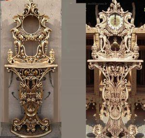 جدیدترین مدل ساعت کنسول چوبی سلطنتی کد 81