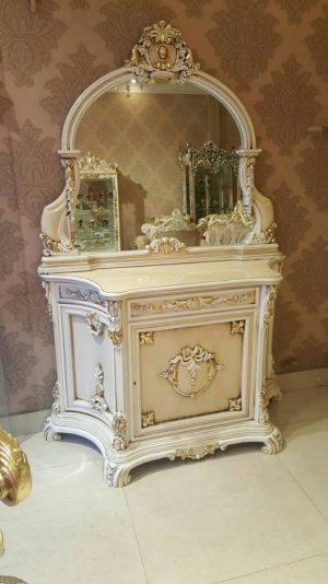 جدیدترین مدل آینه کنسول چوبی سفید