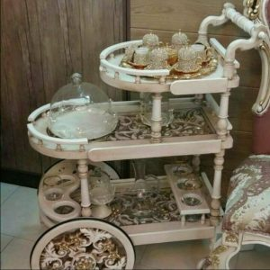 میز بار چرخ دار معرق پذیرایی با قیمت تولیدی رضوی مخصوص جهیزیه عروس دکوراتیو