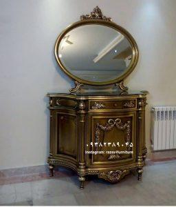 آینه کنسول چوبی تک درب تولیدی رضوی