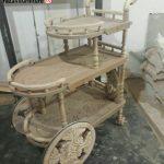 میزبار چزخدار چوبی