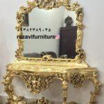 آینه کنسول سلطنتی ورق طلا