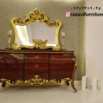 آینه کنسول ورق طلا