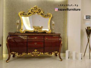 آینه کنسول ورق طلا با مدل جدید