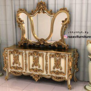 شیک ترین قیمت آینه کنسول طلایی مدل الاهه