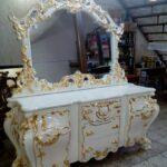 آینه میز کنسول خمره ای چوبی سفید