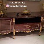 میز تلویزیون طلایی مدل لاله