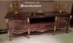 میز تلویزیون طلایی مدل لاله با قیمت