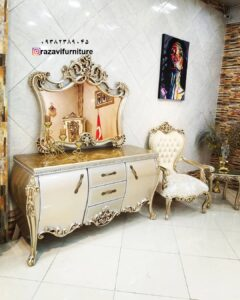 آینه کنسول لوکس سلطنتی مدل رز