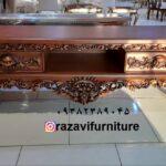 میز تلویزیون چوبی مدل رز گلد- تولیدی رضوی تبریز