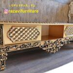 میز تلویزیون سلطنتی طلایی مدل گلریز-تولیدی رضوی تبریز