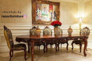 میز غذاخوری سلطنتی شیک و جدید مدل فرانسوی دوگل