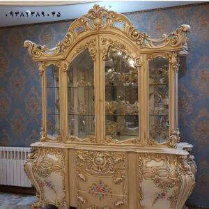ویترین چوبی لاکچری سلطنتی چهاردرب مخصوص دکوراسیون سلطنتی