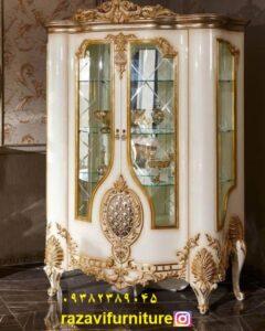 ویترین لاکچری طلایی سلطنتی چوبی