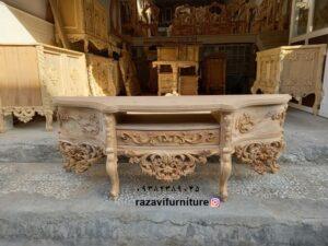 میز تلویزیون خام و بدون رنگ جدید سلطنتی مدل اوپال