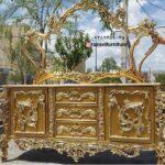 آینه کنسول طلایی چوبی