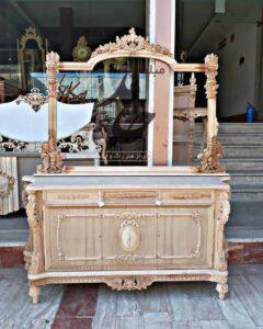 فروش کلاف خام آینه کنسول طلایی چوبی