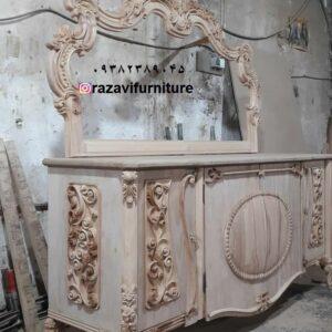کلاف خام آینه میز کنسول سفید چوبی تولیدی رضوی