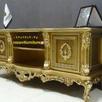 میز تلویزیون سفید چوبی مدل آرکان- تولیدی رضوی تبریز